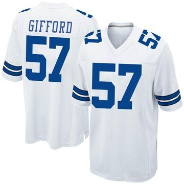 Youth Nike Dallas Cowboys Luke Gifford White Jersey - Game