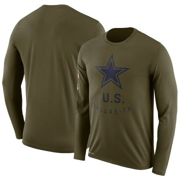 Youth Nike Dallas Cowboys Olive 2018 Salute to Service Performance Long Sleeve T-Shirt - Legend