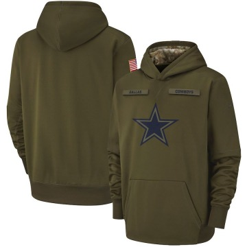Youth Nike Dallas Cowboys Olive 2018 Salute to Service Therma Performance Pullover Hoodie -