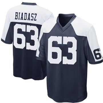 Youth Nike Dallas Cowboys Tyler Biadasz Navy Blue Throwback Jersey - Game